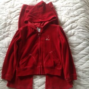 Girl's size 4/4T velour pants & hooded jacket
